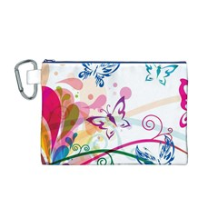Butterfly Vector Art Canvas Cosmetic Bag (m)