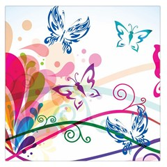 Butterfly Vector Art Large Satin Scarf (Square)