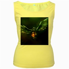 Owl And Fire Ball Women s Yellow Tank Top