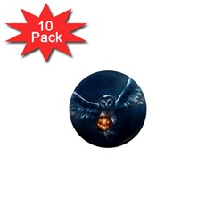 Owl And Fire Ball 1  Mini Magnet (10 pack)