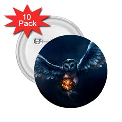 Owl And Fire Ball 2 25  Buttons (10 Pack)