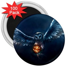Owl And Fire Ball 3  Magnets (100 Pack)