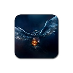 Owl And Fire Ball Rubber Square Coaster (4 Pack)