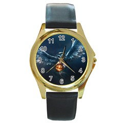 Owl And Fire Ball Round Gold Metal Watch