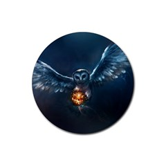Owl And Fire Ball Rubber Round Coaster (4 Pack)