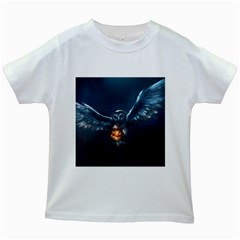 Owl And Fire Ball Kids White T-Shirts