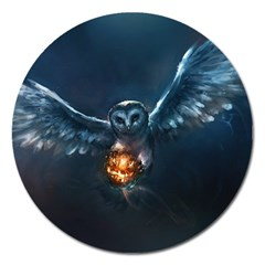 Owl And Fire Ball Magnet 5  (round)