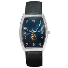 Owl And Fire Ball Barrel Style Metal Watch