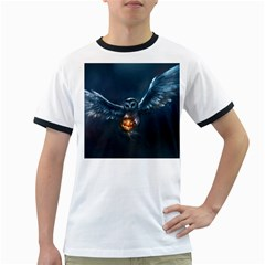 Owl And Fire Ball Ringer T Shirts