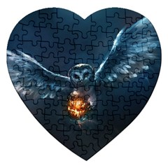 Owl And Fire Ball Jigsaw Puzzle (heart)