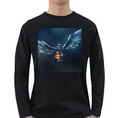 Owl And Fire Ball Long Sleeve Dark T Shirts