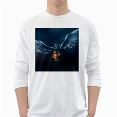 Owl And Fire Ball White Long Sleeve T-Shirts