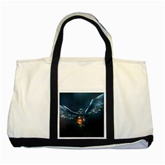 Owl And Fire Ball Two Tone Tote Bag
