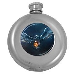 Owl And Fire Ball Round Hip Flask (5 oz)