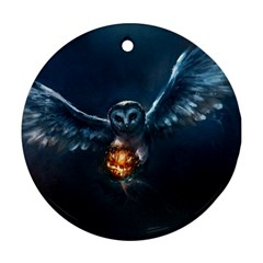Owl And Fire Ball Round Ornament (two Sides)