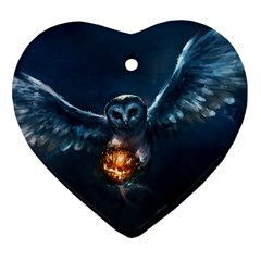 Owl And Fire Ball Heart Ornament (two Sides)