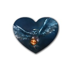 Owl And Fire Ball Rubber Coaster (heart)