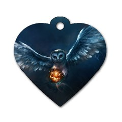 Owl And Fire Ball Dog Tag Heart (One Side)