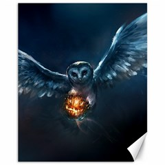 Owl And Fire Ball Canvas 11  X 14