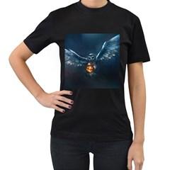Owl And Fire Ball Women s T Shirt (black)