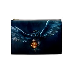Owl And Fire Ball Cosmetic Bag (medium)