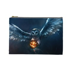 Owl And Fire Ball Cosmetic Bag (large)