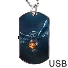 Owl And Fire Ball Dog Tag USB Flash (One Side)
