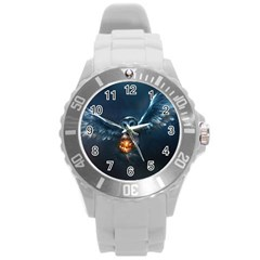 Owl And Fire Ball Round Plastic Sport Watch (l)