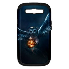Owl And Fire Ball Samsung Galaxy S III Hardshell Case (PC+Silicone)