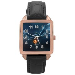 Owl And Fire Ball Rose Gold Leather Watch