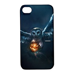 Owl And Fire Ball Apple Iphone 4/4s Hardshell Case With Stand