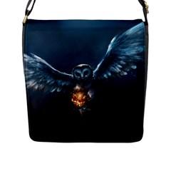 Owl And Fire Ball Flap Messenger Bag (l)