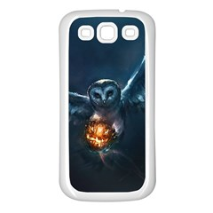 Owl And Fire Ball Samsung Galaxy S3 Back Case (white)