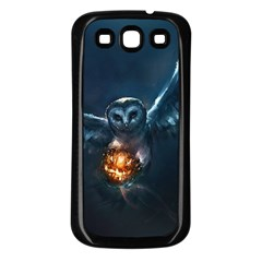 Owl And Fire Ball Samsung Galaxy S3 Back Case (black)