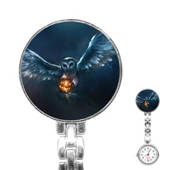 Owl And Fire Ball Stainless Steel Nurses Watch