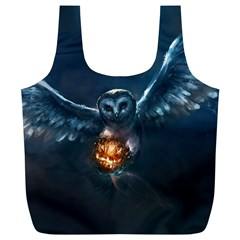 Owl And Fire Ball Full Print Recycle Bags (l)