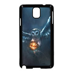 Owl And Fire Ball Samsung Galaxy Note 3 Neo Hardshell Case (Black)