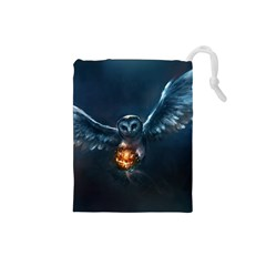 Owl And Fire Ball Drawstring Pouches (small)