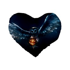 Owl And Fire Ball Standard 16  Premium Flano Heart Shape Cushions