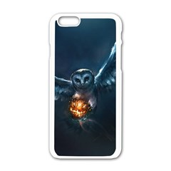 Owl And Fire Ball Apple iPhone 6/6S White Enamel Case