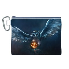 Owl And Fire Ball Canvas Cosmetic Bag (l)