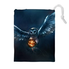Owl And Fire Ball Drawstring Pouches (Extra Large)