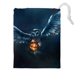 Owl And Fire Ball Drawstring Pouches (xxl)