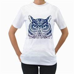 Owl Women s T-Shirt (White) (Two Sided)