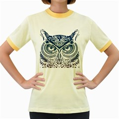 Owl Women s Fitted Ringer T Shirts