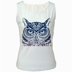 Owl Women s White Tank Top
