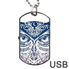 Owl Dog Tag Usb Flash (one Side)