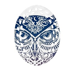 Owl Oval Filigree Ornament (two Sides)