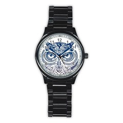Owl Stainless Steel Round Watch