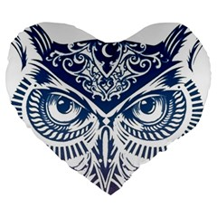 Owl Large 19  Premium Flano Heart Shape Cushions